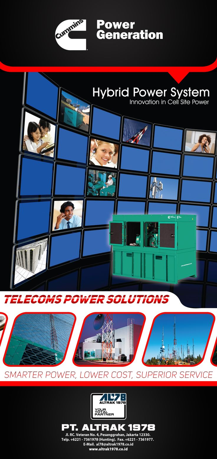 Roll Up Banner Cummins Power Generation Telecom Power Solution 85x180cm