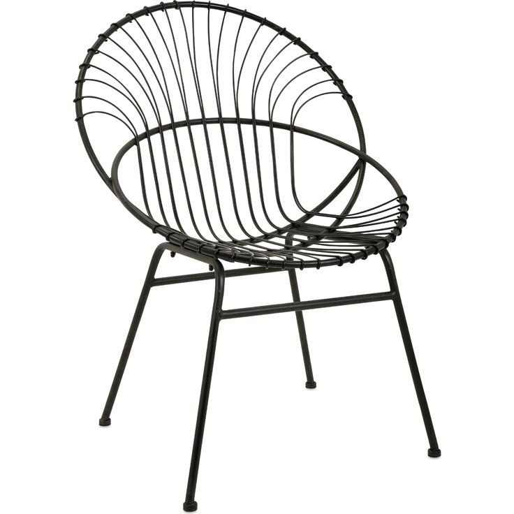 Black Iron Round Accent Chair #dynamichome #round #accent #chair #black #iron #metal #boho #industrial #rustic #midcentury #livingroom #bedroom #outdoor #patio #sunroom