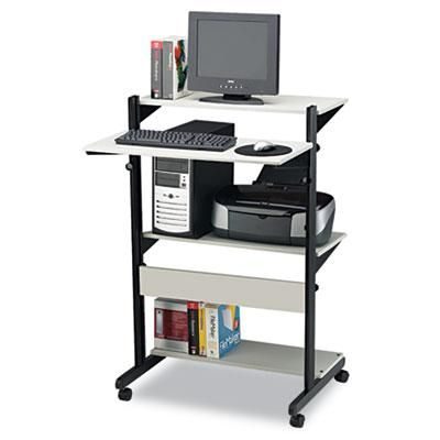 Mayline Soho Fully Adjustable Mobile Computer Table, 32w x 31d x 50h, Gray/Black