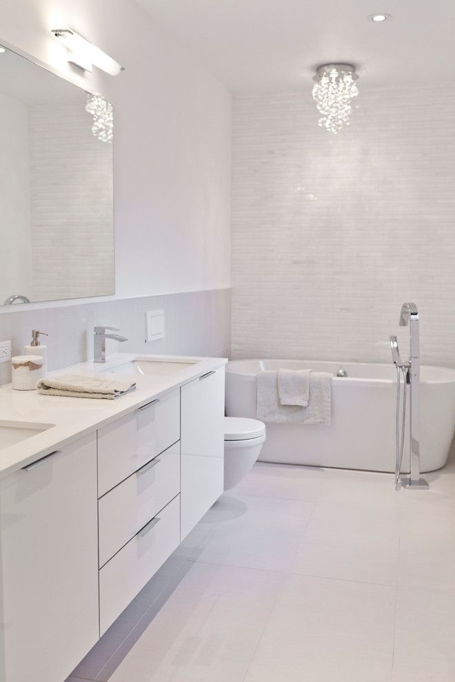 White Vanities For Small Bathrooms Part - 16: 20 Flawless All White Bathroom Designs