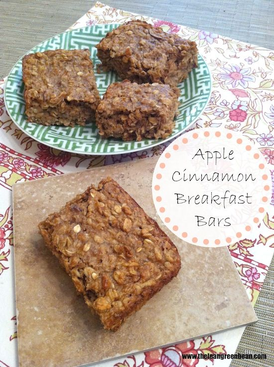Apple Cinnamon Breakfast Bars, by dietitian @The Lean Green Bean. These are perfect for kids who may have trouble getting up in the morning, causing them to skip breakfast. Part of our #DairyFuel for #BackToSchool recipe exchange!