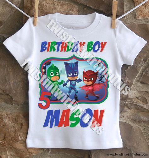 Boys PJ Masks Birthday Shirt