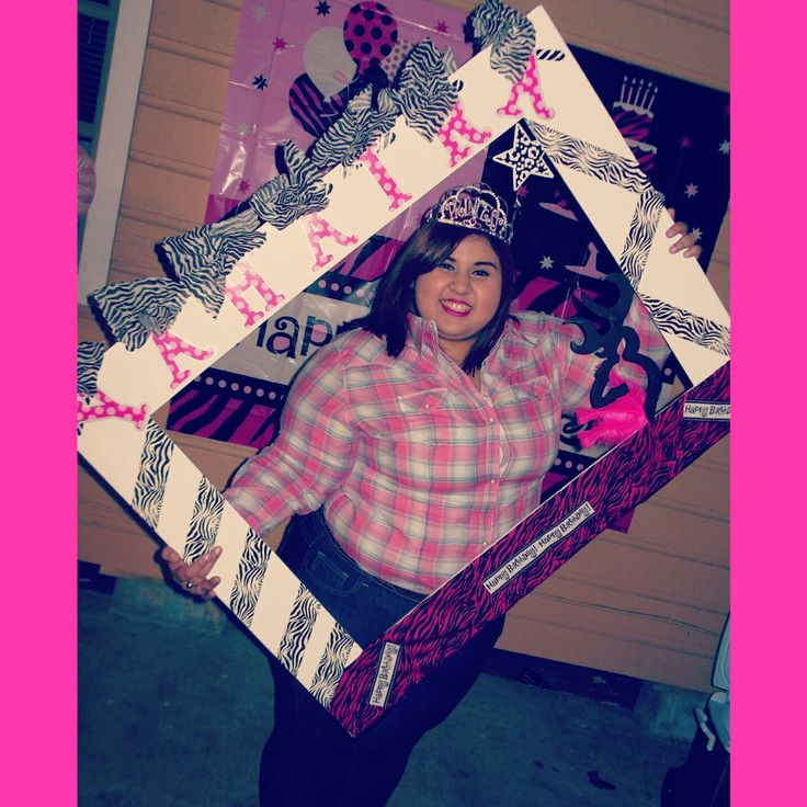 party idea cardboard frame zebra hot pink letters browning happybirthday
