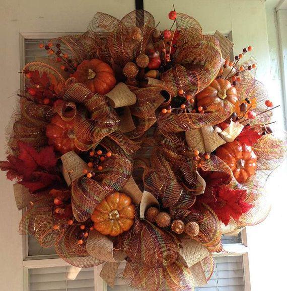 17 best ideas about fall mesh wreaths on pinterest
