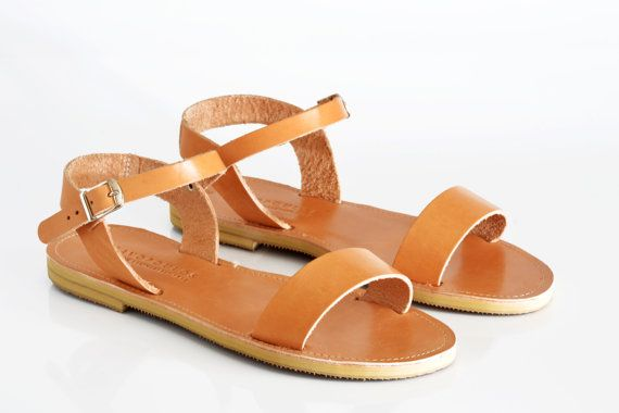 Leather Sandals Ankle strap sandals  Handmade Greek by SAVOPOULOS