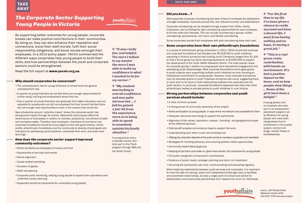 The Corporate Sector Supporting Young People in Victoria: YACVic takeaway policy info sheet