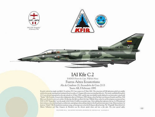 Manufacturer: IAI Model: Kfir C.2 Tail Code: FAE 905 ECUADOR AIR FORCE . FUERZA AÉREA ECUATORIANA Flown by Capt. Wilfrido Moya Fuerza Aérea Ecuatoriana, Ala de Combate 21, Escuadrón de Caza 2113 Taura AB, 9 February 1995 Ecuador ordered ten single-seat Kfir C.2s and two TC.2 two-seaters on 21 May 1981. The conversion of FAE-pilots proceeded very swiftly, with the first group returning from training in Israel as early as 11 August of the same year, pending deliveries.