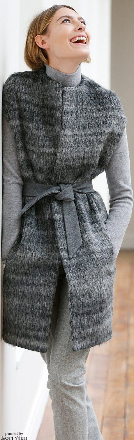 Martin Grant Pre F-15, all grey: fur sleeveless coat, turtleneck top, pants.