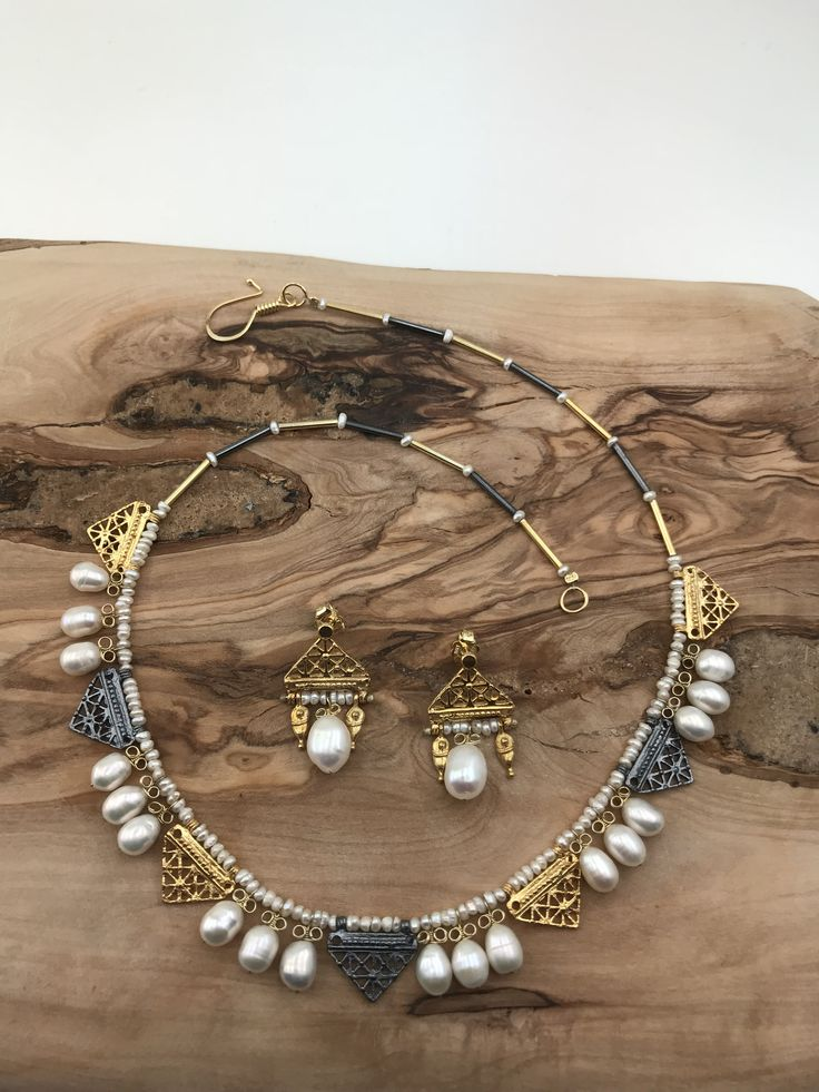 Hittite style Necklace and Earrings  silver&goldplated with sweet water pearls