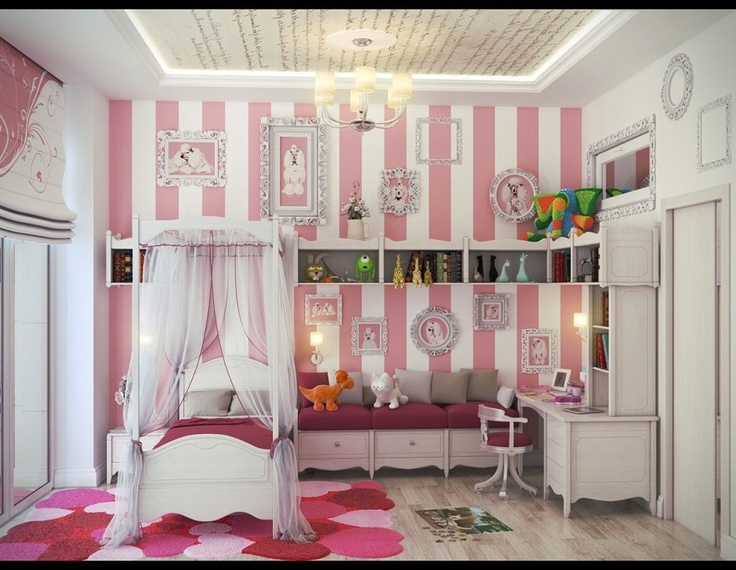 Cute Bedroom Design Ideas For Girls Pink Stripe Wall With White Canopy Bed Also Love Rug Pattern Under Ceiling Lamp With Six Lights Perfect Little Girls