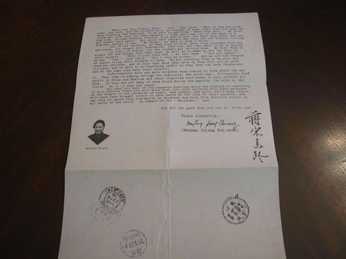 Rare Madame Chiang Kai - Shek Signed 1939 Letter In Chinese And English | eBay