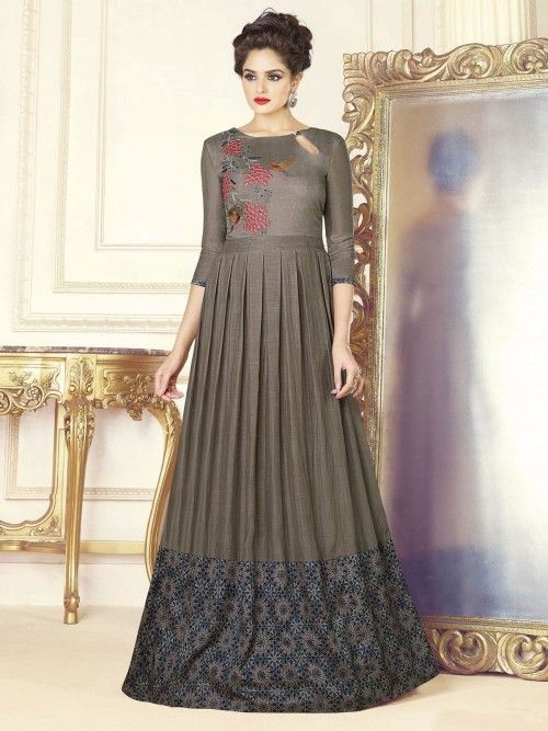 cc90f535309 Pretty grey designer gown online which is crafted from silk fabric with  exclusive digital print.