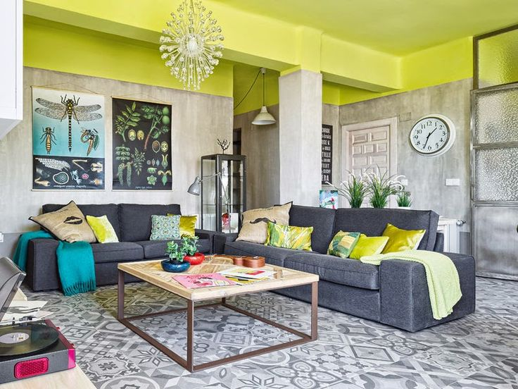 Modern Industrial Look Apartment with Bright Yellow Ceiling by Sueca House   http://www.designrulz.com/design/2014/10/modern-industrial-look-apartment-bright-yellow-ceiling-sueca-house/