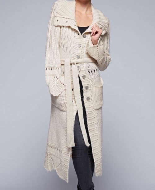 Tie Waist Crochet Maxi Sweater