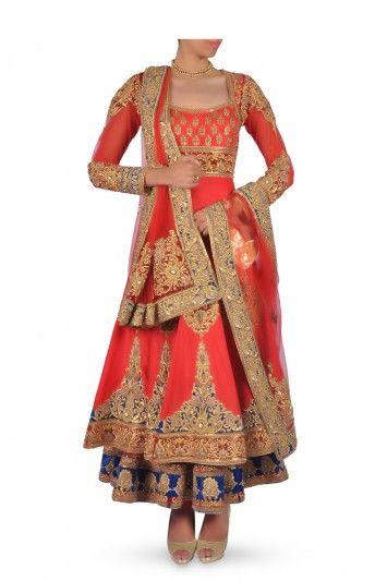 red silk blend Anarkali