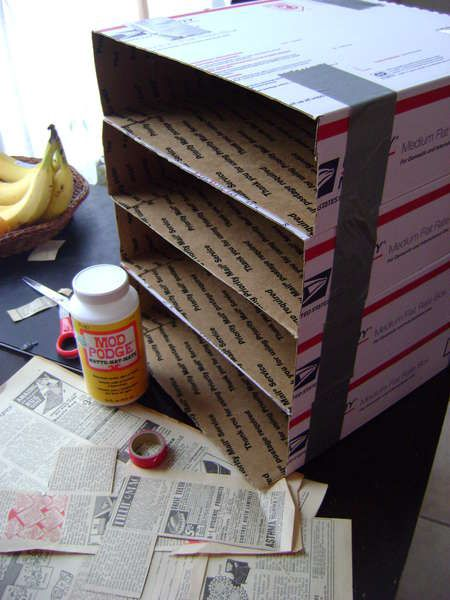 Good home office organizer. Paper sorter made from postal mailing boxes. Stack