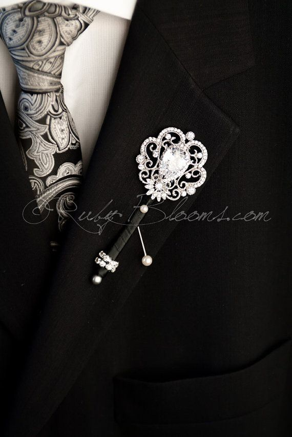 Crystal Wedding Brooch Boutonniere Pin. Groom by Rubybloomscom