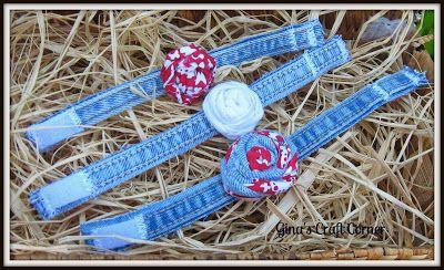 Gina's Craft Corner: Blue Jean Rosette Bracelets