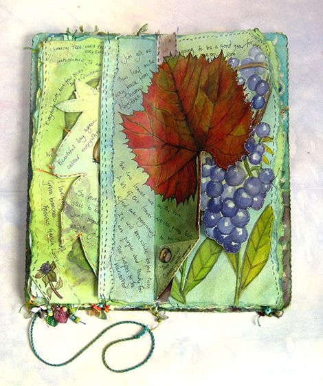 'Garden Journal' grape harvest spread, with illustration and stitch (click to enlarge)