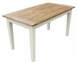 Solid Oak and White Dining Table 150