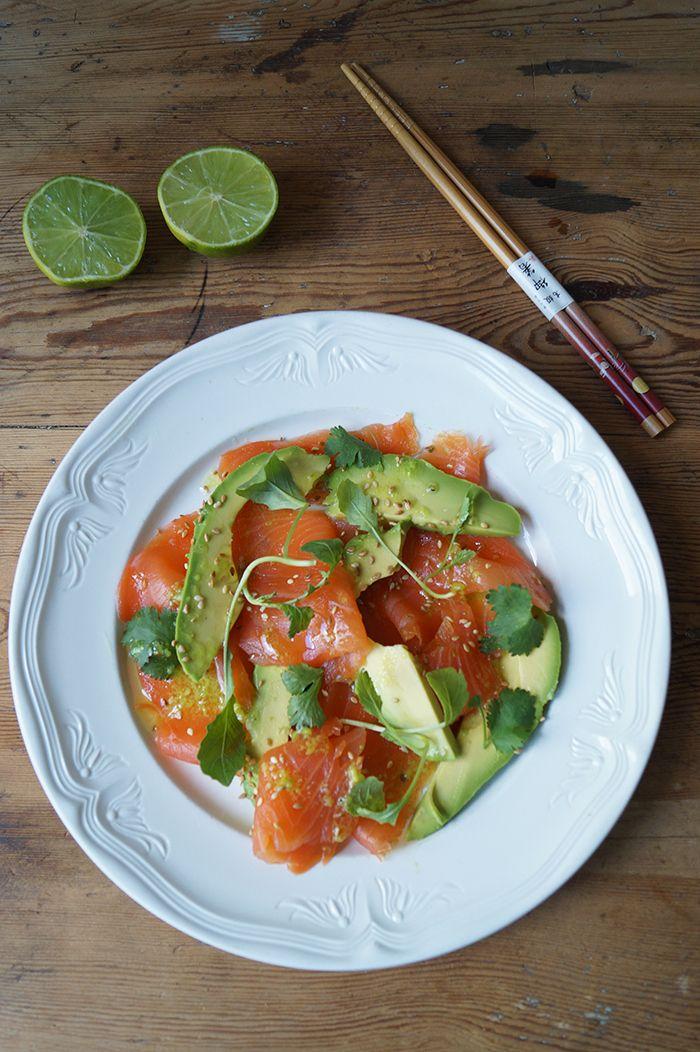 Salade zalm en avocado