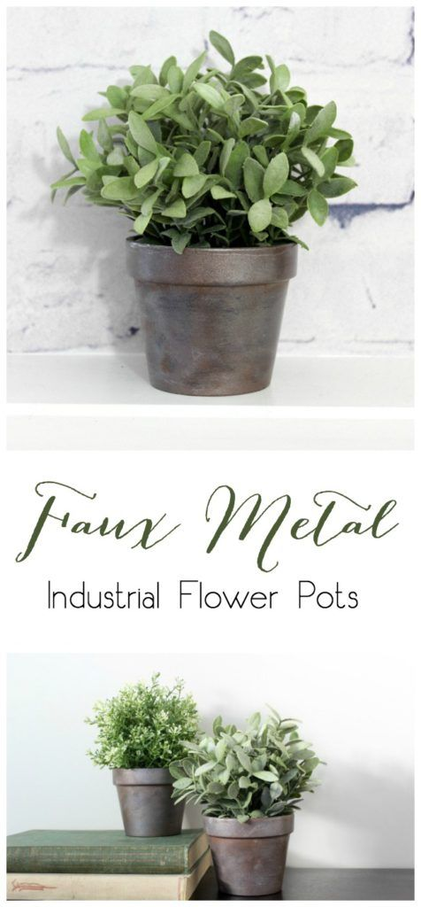 Faux Metal Farmhouse Flower Pots - all you need is paint and terra cotta pots! Great budget-friendly DIY planter!
