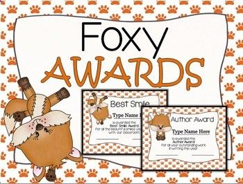 21 of the most ADORABLE FOXY awards are just waiting for you to print and hand out at the end of the school year. You are able to add your students names simply by typing in the text box.Want to take a look at MORE awards? Come take a look?AwardsYou will receive awards for:class clownbest smilebest friendsurvivor (most improved)Edison (science)Columbus (social studies)mathspellingauthor (writing)readingathlete awards (basketball, football, soccer, and baseball)helpful pawpeacefuture te...