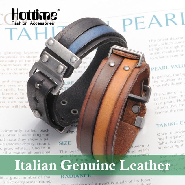Cheapest Price $11.99, Buy Hot Italian Genuine Leather Cuff Double Wide Bracelet And Rope Bangles Brown For Men Fashion Man Bracelets Unisex Jewelry PG013