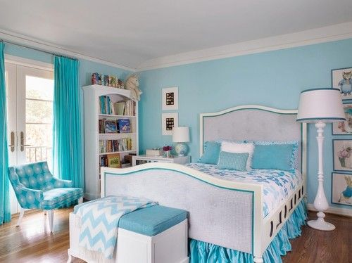 Light Blue Theme Girls Room Beach Cottage Bedroom Wall Color Combination  Ideas