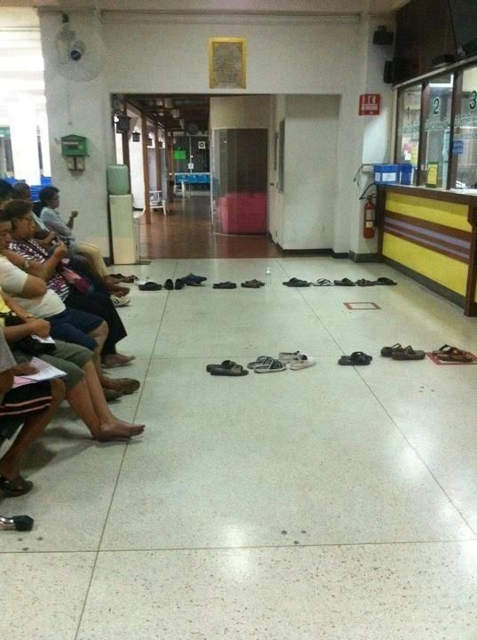 this is what I call pure genius.. thinking outside the box... let the shoes do the wait in line for you..