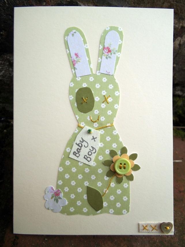 Green Bunny baby boy card