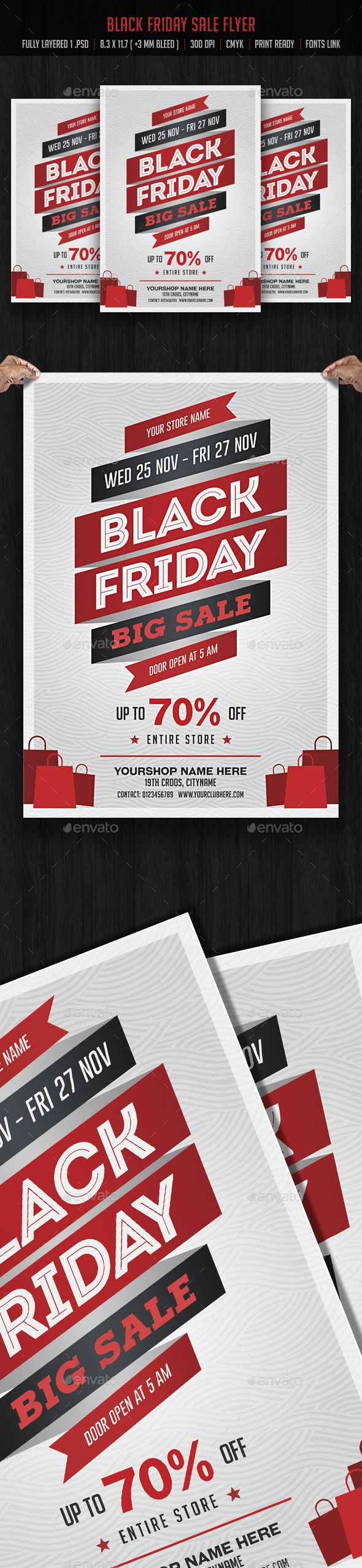 Black Friday Sale Flyer  — PSD Template #discount #deal • Download ➝ https://graphicriver.net/item/black-friday-sale-flyer/18155763?ref=pxcr