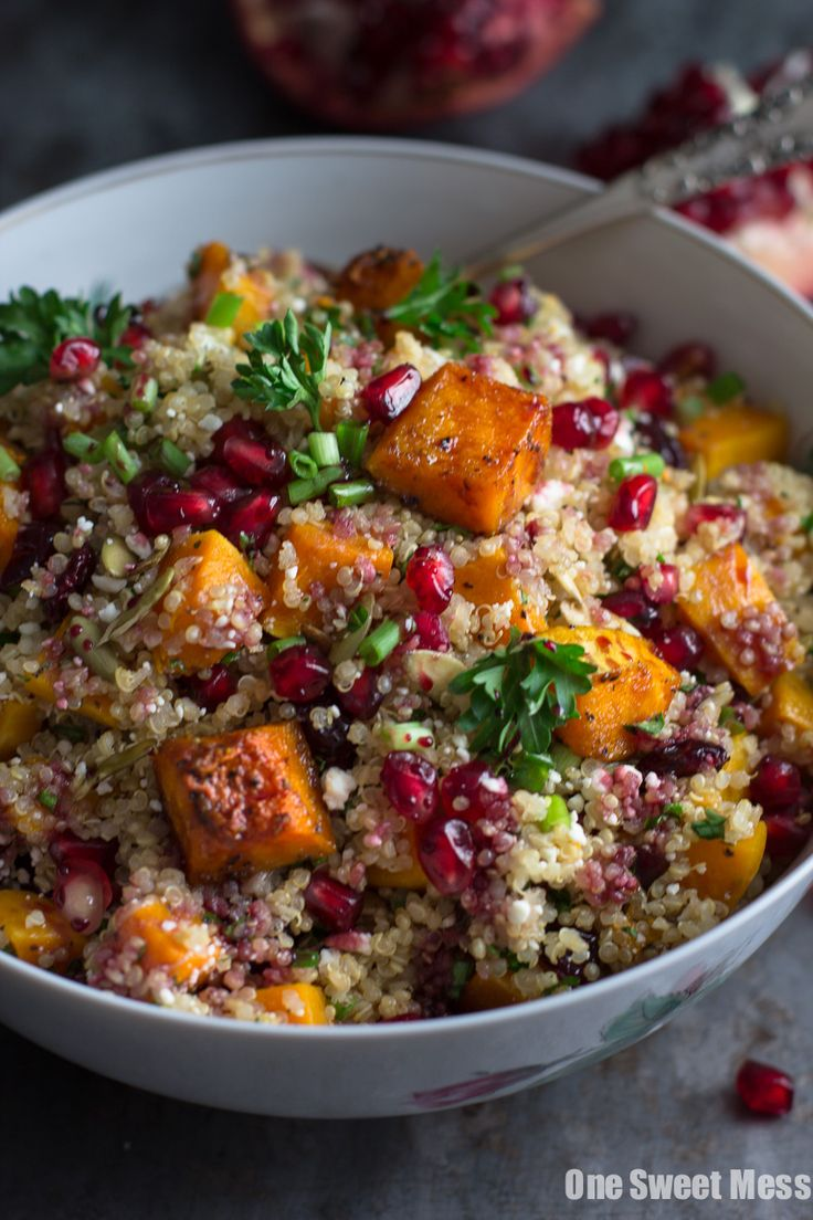 Fluffy quinoa gets a fall makeover! This Roasted Butternut Squash Quinoa Salad is full of every fall ingredient I could get my hands on.
