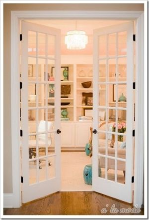 Love french doors.: Dining Rooms, The Doors, Living Rooms, Offices Spaces, The Offices, Medicine Cabinets, Interiors French Doors, Glasses Doors, Home Offices