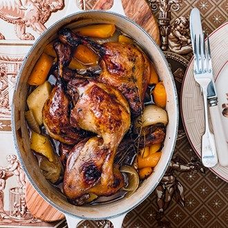 Duck legs with root vegetables, beer and honey | Recipe