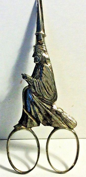 Antique Steel Figural Witch Scissors - Daniel Low - Germany.