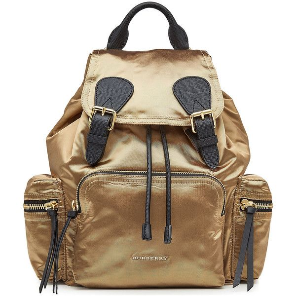 Burberry Shoes & Accessories Satin Backpack found on Polyvore featuring bags, backpacks, gold, daypack bag, beige backpack, backpack bags, knapsack bag and burberry