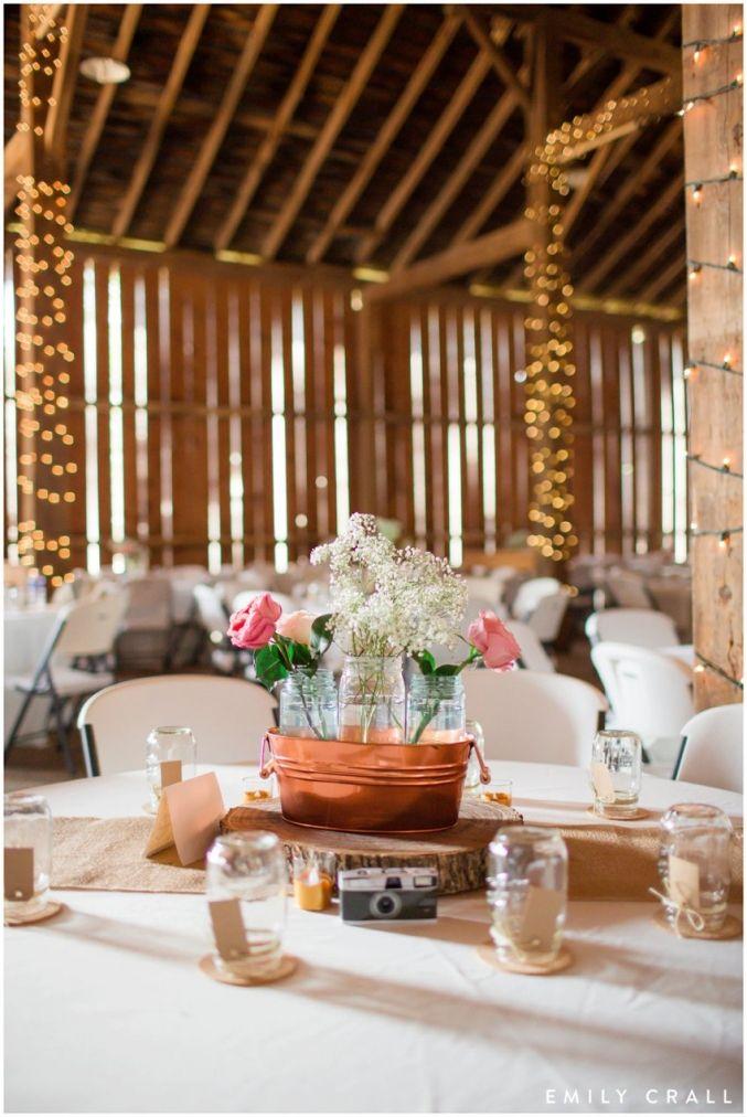 Amana Festhalle barn wedding reception, late summer wedding, blush pink & gold wedding colors, centerpieces decor