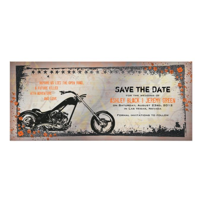 Biker Or Motorcycle Wedding Save The Date Card
