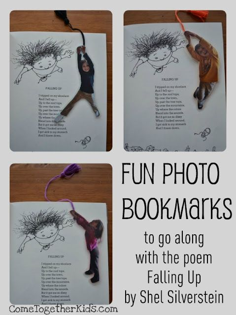 This is so great! Simple bookmark tutorial for kids' bookmarks, courtesy of Come Together Kids ( http://www.cometogetherkids.com/2012/03/fun-photo-bookmarks.html )