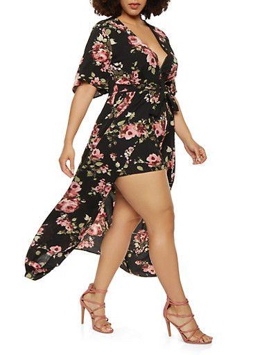9ff3a720958 Plus Size Short Sleeve Floral Plunge Neck Maxi Romper - Rainbow ...