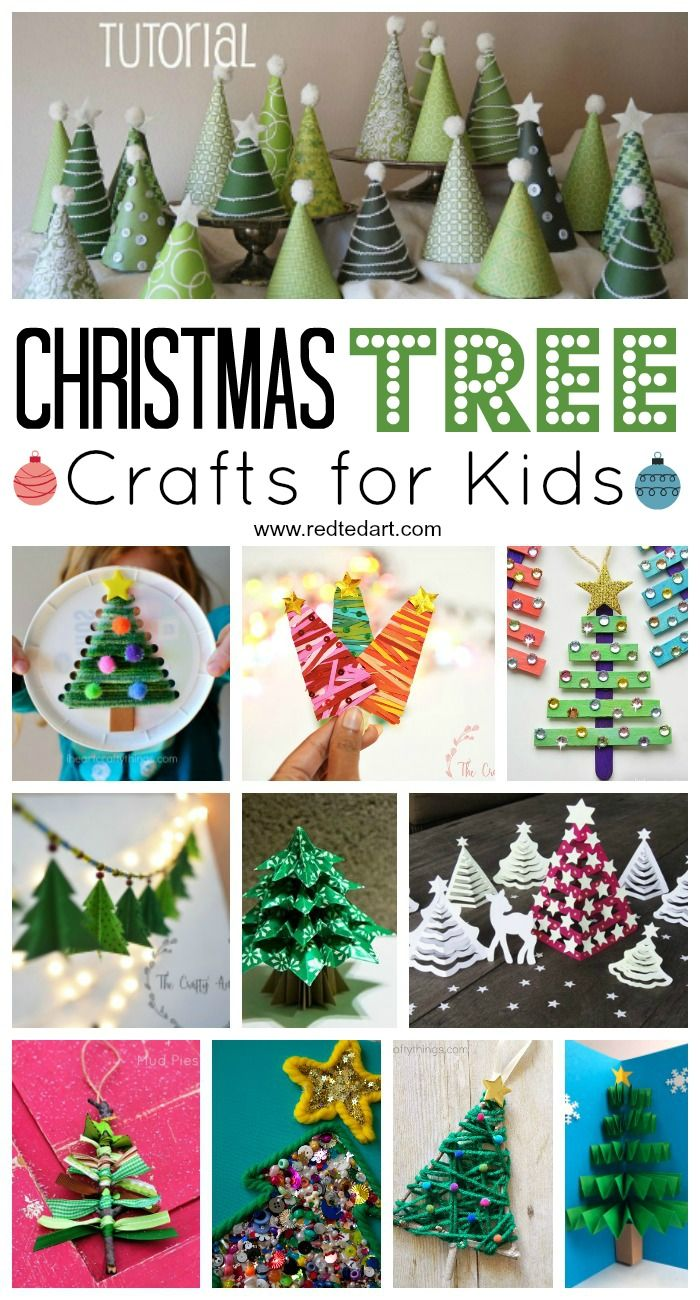 Easy Christmas Tree Crafts for Kids! These Christmas trees come in every shape and size- from preschool to first grade there is an holiday craft for every child! #Christmascrafts #treecrafts