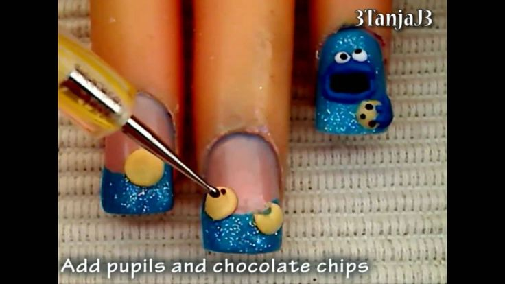 *Cookie Monster* 3D Acrylic Nail Art Design