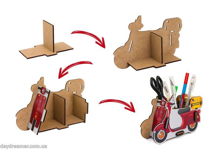 Органайзер для ручек и карандашей Скутер – Scooter Box, фирменная упаковка, скутер бокс, нестандартный настольный органайзер, креативный подарок, подставка для ручек, магазин дейдример, daydreamer