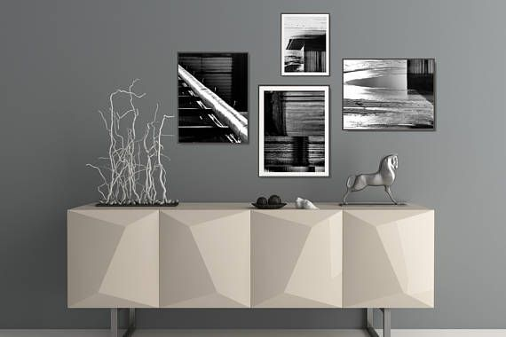 4 black and white prints set, inspired by architectural patterns. Modern geometric compositions with bold lights and shadows, perfect decor for minimal or industrial interiors. +++ #wallart #walldecor #scandi #b&w #blackandwhite #framed #poster #industrial