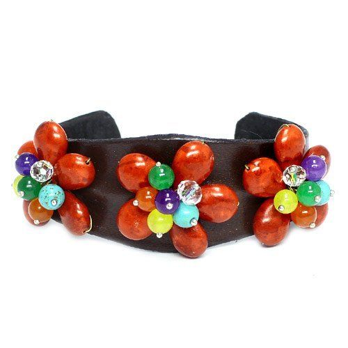 """Handmade Genuine Stone Cuff; 1.5""""L; Genuine Leather Band; Genuine Multicolored Stone Beads; Stretches To Fit Eileen's Collection. $39.99. Save 50% Off!"""
