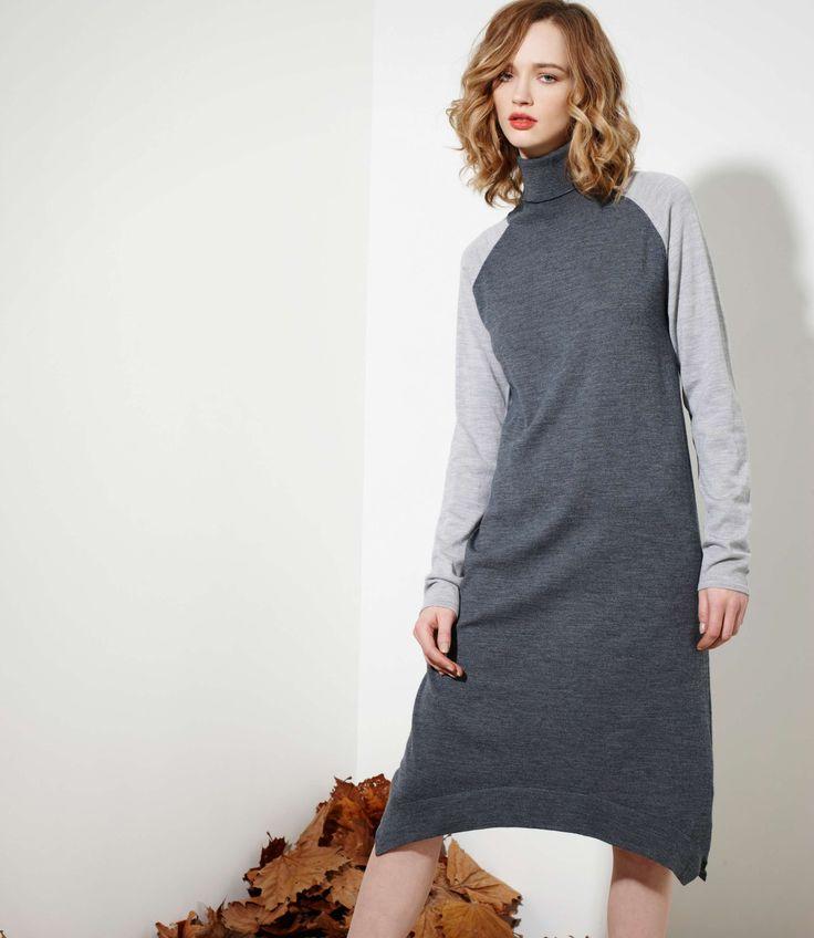 Manhattan Dress in Charcoal/Grey Marl - 100% Merinowww.nineteen46.co.nz