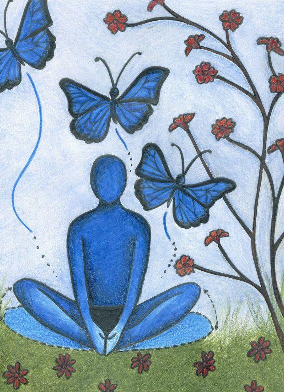 yoga art print - Butterfly Pose, yoga print, yoga artwork, yoga pose, asana, inspirational art, yoga gift, yoga studio
