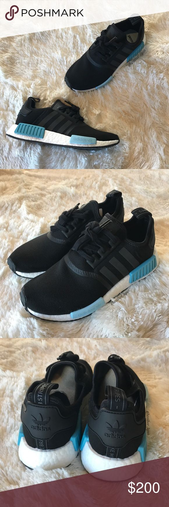 Adidas NMD R1 ✨ Black/Light Blue Women's Size 8.5   100% authentic! Comes with original box.   ❤️ Reasonable offers will be considered (please use the offer button to negotiate prices).  ✅Bundle to save on shipping costs! ♏️ Lower prices on Merc! Find my page by searching for @heather_lynn.  ❌ NO TRADES! ❌ Lowball offers will be ignored and deleted.  Closet Tags: VS, Victoria's Secret, Sport, PINK, Nike, Follow Me, Follow Game Adidas Shoes Sneakers