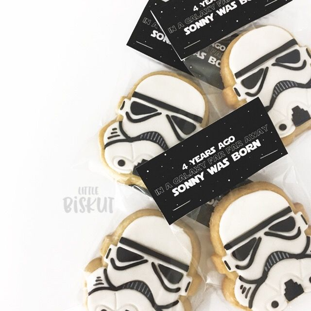 Custom birthday Star Wars Storm Trooper decorated cookies.
